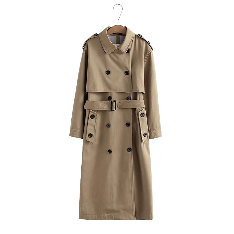 Women Casual Solid Color Double Breasted Outwear Sashes Office Coat Chic Epaulet Design Long   Trench