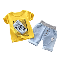 Summer Fashion Children Clothes Suit Baby Boy Girl Casual Letter T-Shirt Denim Shorts 2Pcs/Set Toddler Cotton Clothing Tracksuit 2018 summer children clothing baby boy fashion cotton sleeveless star print top denim shorts baby boys clothing suit 2pcs s2