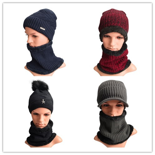 Maylisacc Big Sale Autumn Winter Knitted Hat Scarf Sets Warm 5 Kinds Women Men Unisex Couple Winter Hats Caps With Scarf