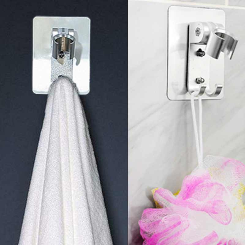 Adjustable Plastik Aluminium Ruang Shower Bracket PUNCH-Gratis Shower Bracket dengan Tidak Ada Jejak Stiker Hand-Held Shower Kepala bracket