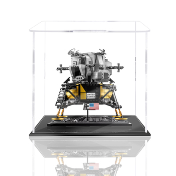 Building Block Acrylic Dustproof Display Box Show Box for Apollo No.11 Lunar Module 10266 ( Box ) - 2mm Thickness Black Bottom