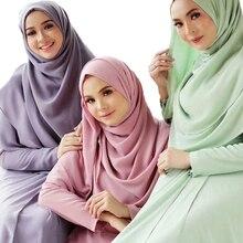 רגיל בועת שיפון חיג אב צעיף צעיף נשים 2019 מוצק צבע ארוך וכורכת המוסלמי Hijabs צעיפי גבירותיי צעיף Femme