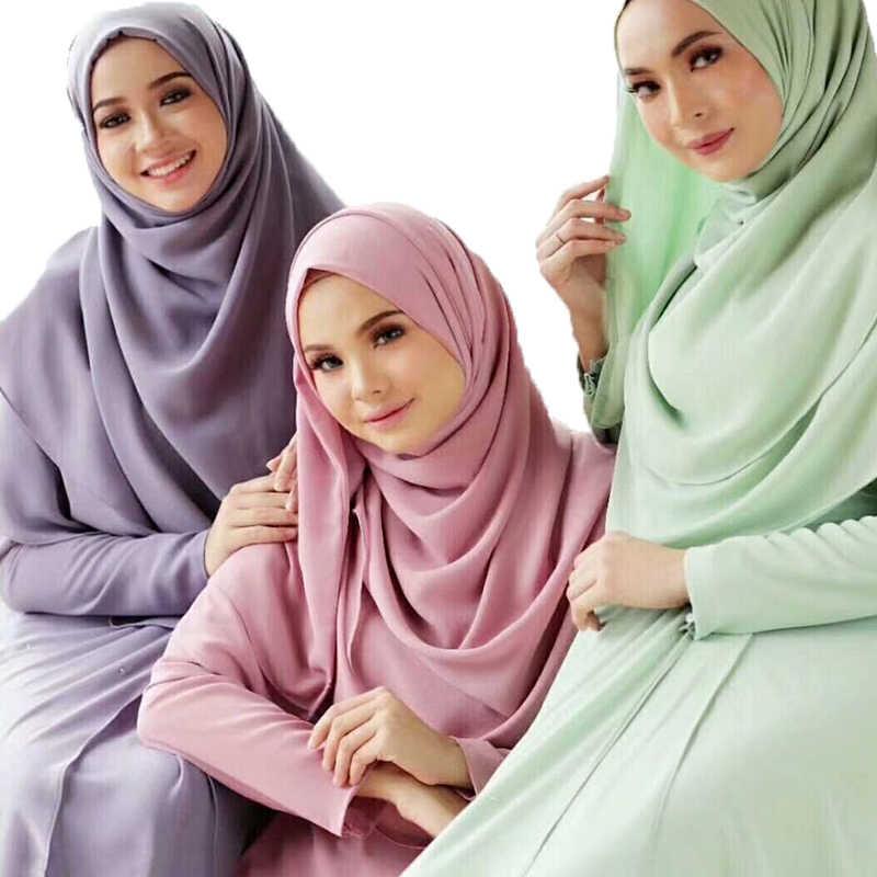 Polos Bubble Chiffon Jilbab Selendang Syal Wanita Syal 2019 Panjang Warna Solid Selendang dan Membungkus Muslim Jilbab Syal Wanita Foulard Femme