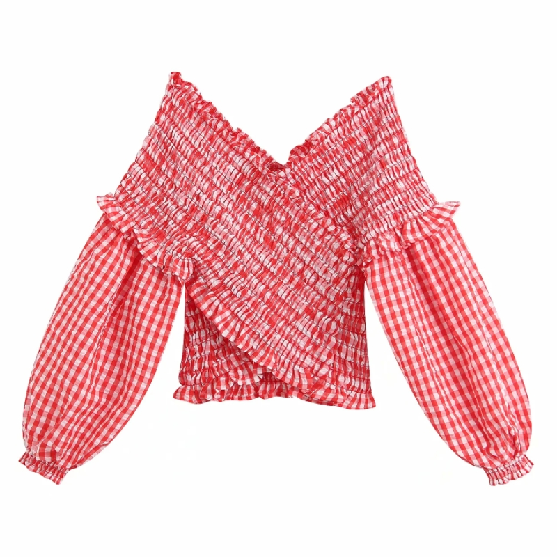 2020 Englan Style Women Red Plaid Elastic Short Smock Blouse Shirts Women Lantern Sleeve Agaric Lace Slim Femininas Tops LS6436