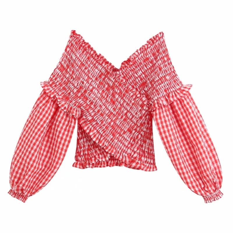 2020 Englan Style Women Red Plaid Elastic Short Smock Blouse Shirts Women Lantern Sleeve Agaric Lace Slim Femininas Tops LS6436