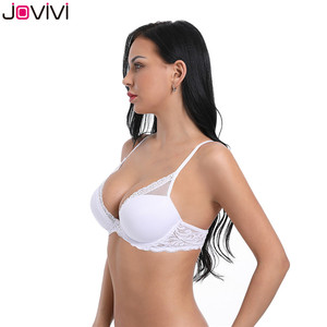 Image 3 - Jovivi 1 pc Womens Sexy Lace Bra Molded Cup Light Padded Underwire Bra Thin Ladies Bra Comfort Soft Daily Bras White 32A 40DDD