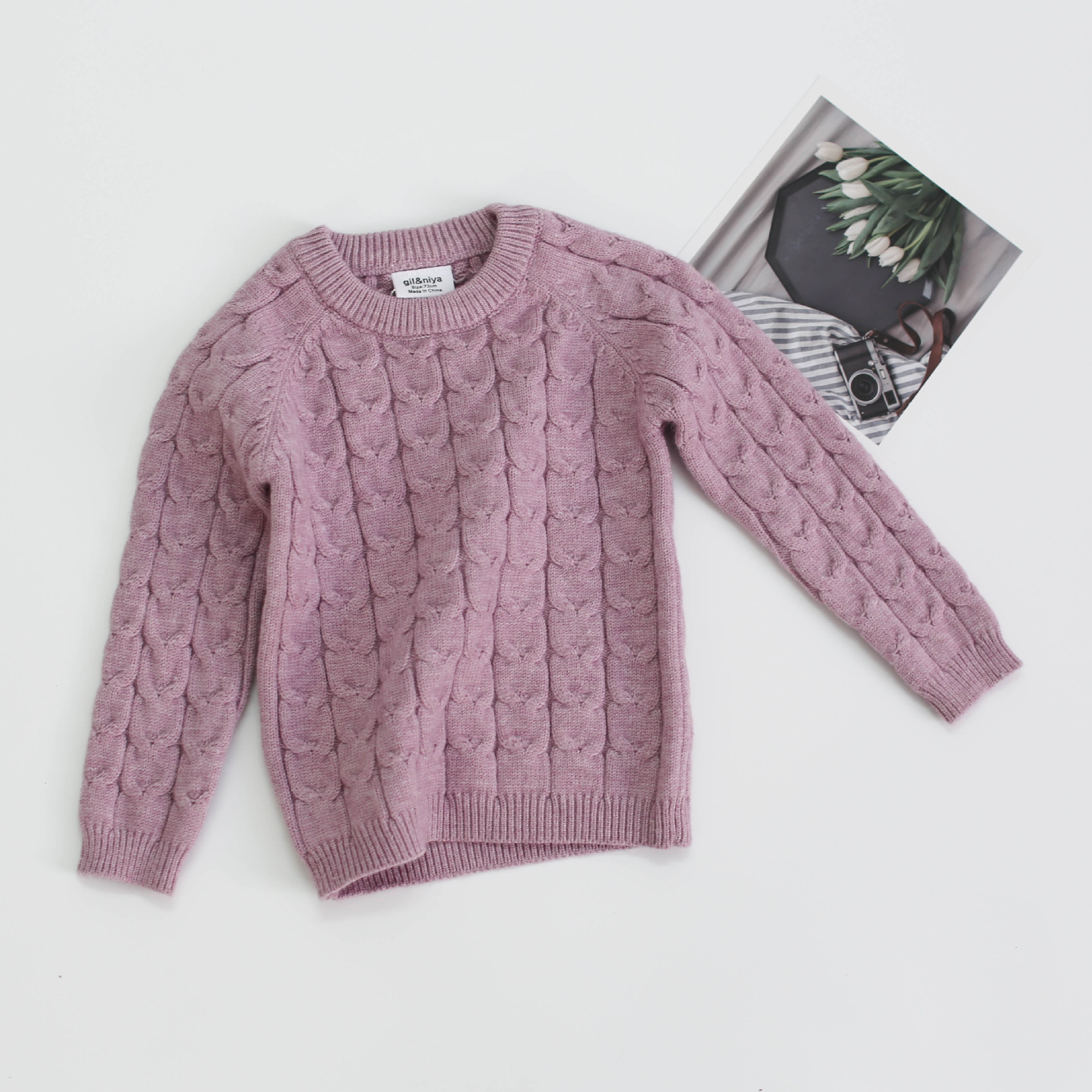 Baby Girls Boys Knit Suit toddler children Clothing Sets Winter knitting Pullover Sweater+Pants Infant kids Tracksuits pink gray 6