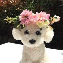 Милая головная повязка для кошек, собак, цветов, головной убор, домашнее животное, свадебное ожерелье, кот, пляж, праздник, фотография, реквизит, ошейники