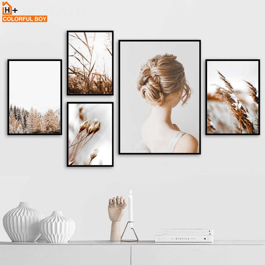 Перо цветок девушка Рид пустыни цитаты плакаты на скандинавскую тему и принты стены художественные принты из брезента картины стены для гостиной