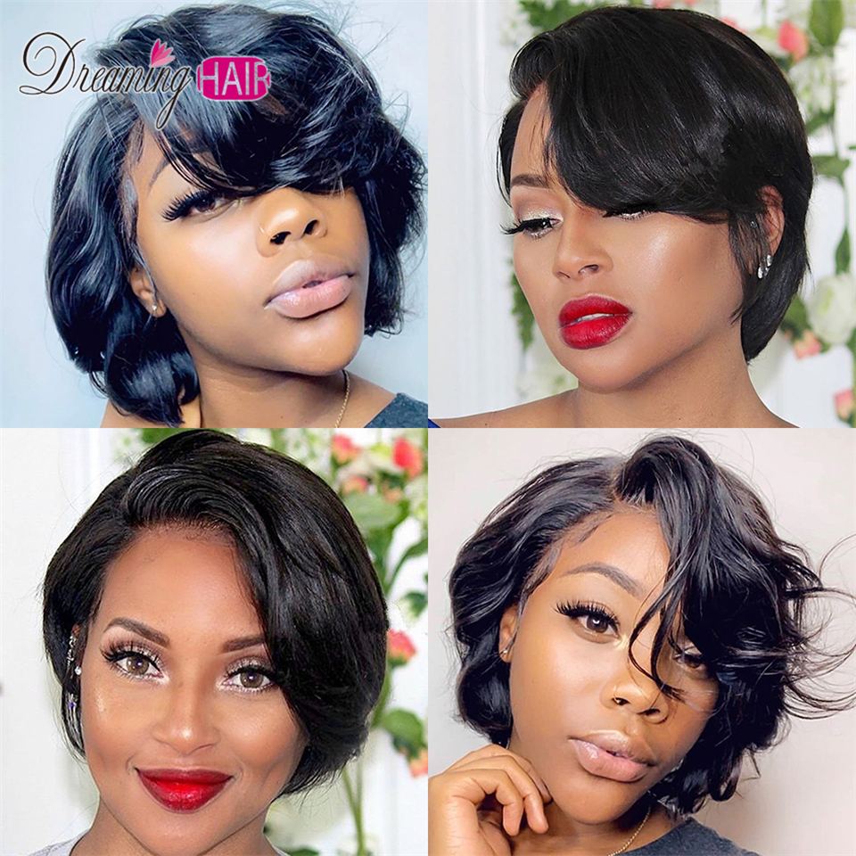 10 Pixie Cut Lace Front Short Human Hair Wigs With Baby Hair Brazilian  Hair Wig Swiss Lace Bleached Knots Wigs For Black Women