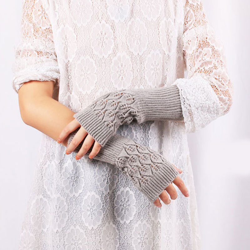 Autumn Winter Women Hollow Gloves Knit Lengthen Sleeve Mitts Hollow Leaf Arm Gloves Solid Color Arm Warmer Gloves High Quality