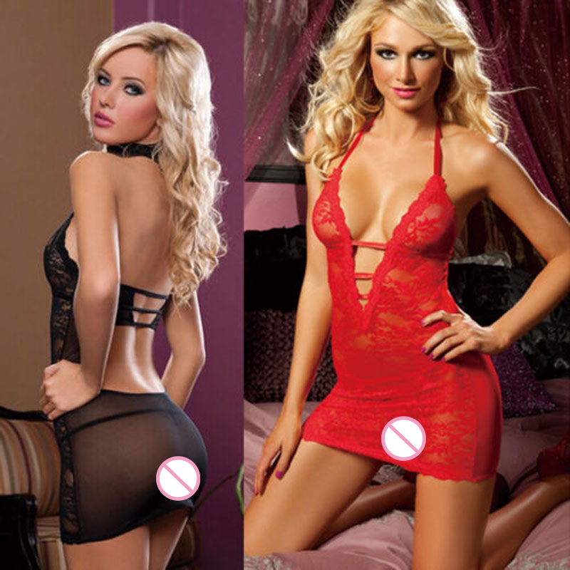 Hot Sale Fashion Porn Sexy Mini Dress Sexy Underwear Women's Lace Lingerie Babydolls V-Neck Backless Bandage Straps Sleepwear