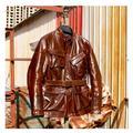 YR! Livraison gratuite. Super italie tanné peau de vache vêtements. Vintage chasse style veste en cuir, grande taille classique en cuir véritable manteau,
