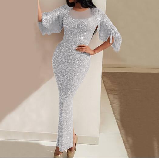 2020 automne foulard de tête pour femme hanche robe de nuit mince fendu paillettes maxi robe bouffée à manches longues fronde briller élégant dame soirée fête dr