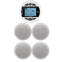 ימי Bluetooth סטריאו רדיו FM AM MP3 נגן אודיו + 4 אינץ ימי עמיד למים חיצוני רמקולים עבור סירת טרקטורונים UTV אופנוע