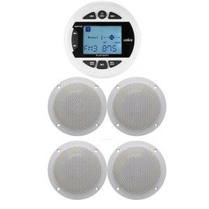 Image 1 - Marine Bluetooth Stereo Radio FM AM MP3 Player Audio + 4 inch Marine Waterproof Outdoor Speakers For Boat ATV UTV Motorcycle