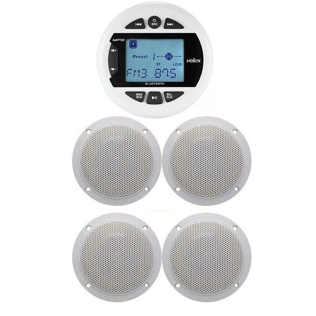 Marine Bluetooth Stereo Radio FM AM MP3 Player Audio + 4 inch Marine Waterproof Outdoor Speakers For Boat ATV UTV Motorcycle