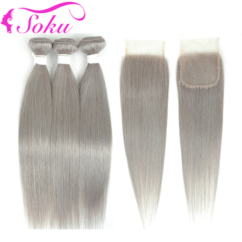 Sliver Grey Bundles With Closure SOKU Brazilian Straight Hair Weave Bundles With Lace Closure Non-Remy Human Hair Extension yyong straight hair bundles with closure brazilian hair weave 3 bundles remy human hair bundles with closure hair extension