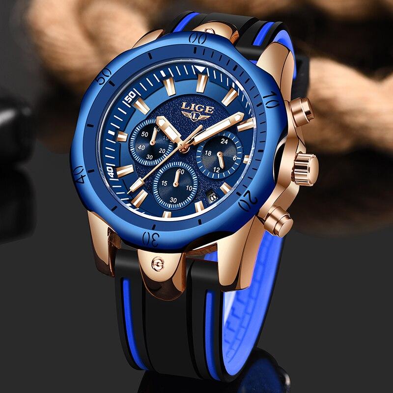 2019 LIGE Marca Relógio Cronógrafo dos homens Analógico Relógio de Quartzo Esportes Silicone Rubber Strap Relógio de Pulso Para O Homem do Relógio À Prova D' Água + caixa