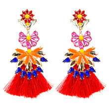 Colorful Crystal Flower Drop Dangle Chunky Tassel Earrings for Women Florate Brand Gold Color Metal Sexy Statement New