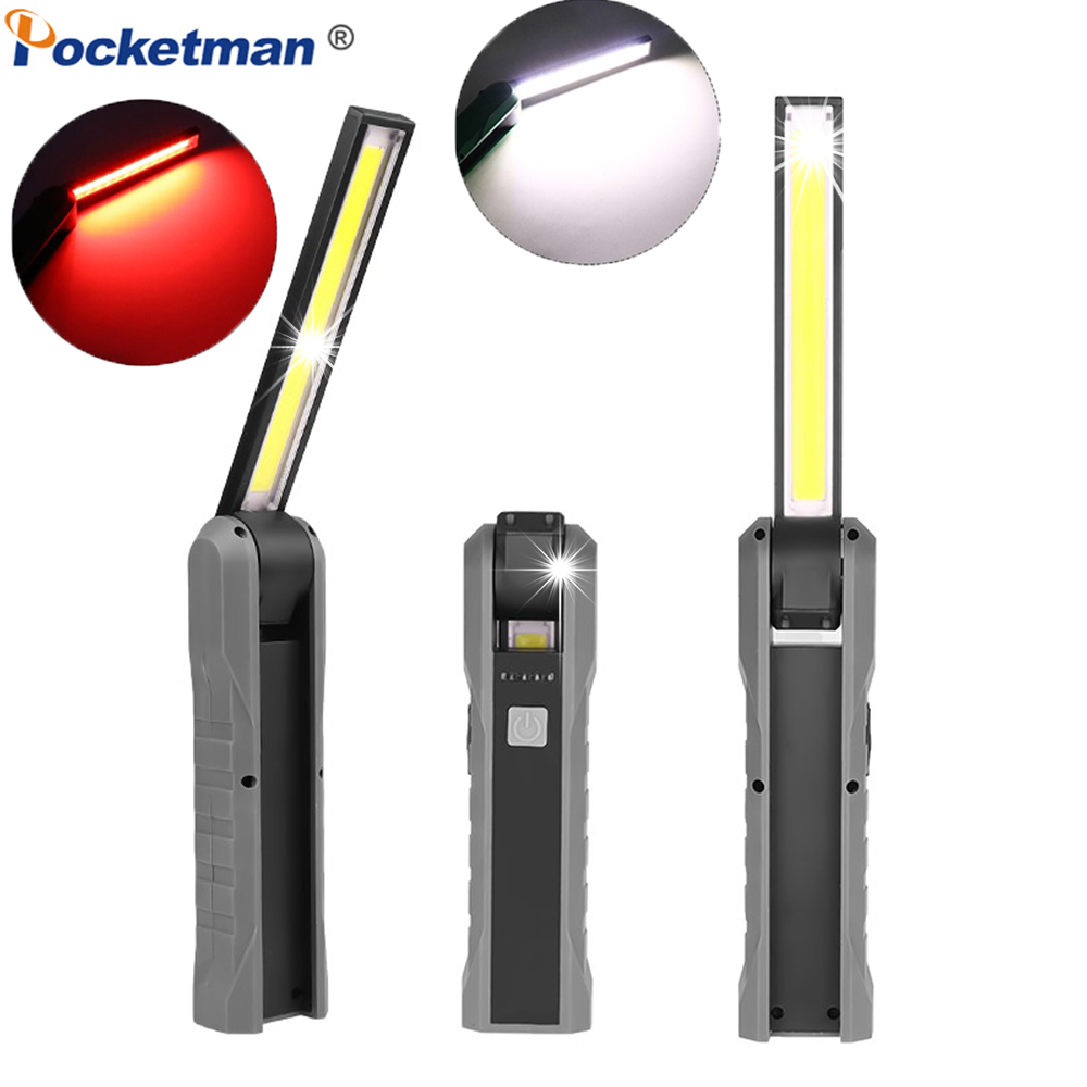 LED COB Work Light USB Rechargeable Flashlight Magnetic Torch Flexible Inspection Hand Lamp Worklight Outdoor Spotlight