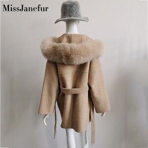 Image 5 - Cashmere Jacket Women Ladies Hand Made Women Fox Fur Collar Wool Coat Casual Winter Wool Jacket Woolen Overcoat Cashmere Coat