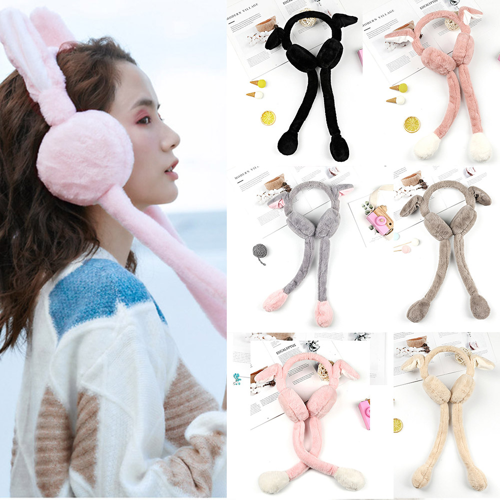 Women Winter Warm Earmuffs Cute Rabbit Airbag Plush Ear Warmer Gifts FS99