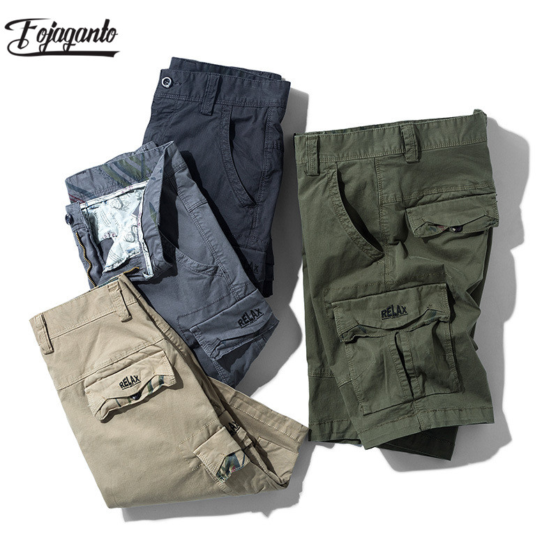 FOJAGANTO Brand Cargo Shorts Men Summer New Men's High Street Casual Shorts Simple Slim Wild Knee Length Pants Male