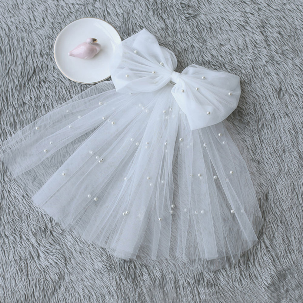 Korean Bow Wedding Veil Short Soft Tulle Bridal Veils Double Layer Pearls Ivory White Bow Bride Veils Wedding Accessories
