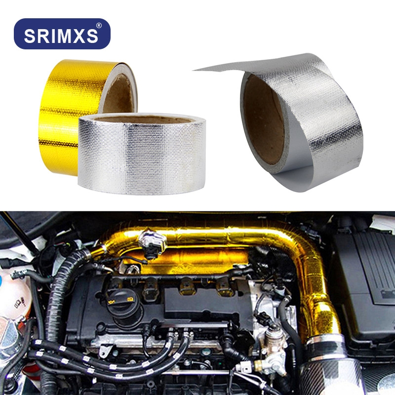 A Gold 2'' Thermal Exhaust Tape Air Intake Heat Insulation Shield Wrap Reflective Heat Barrier Self Adhesive Engine 2 Inch 5/10M