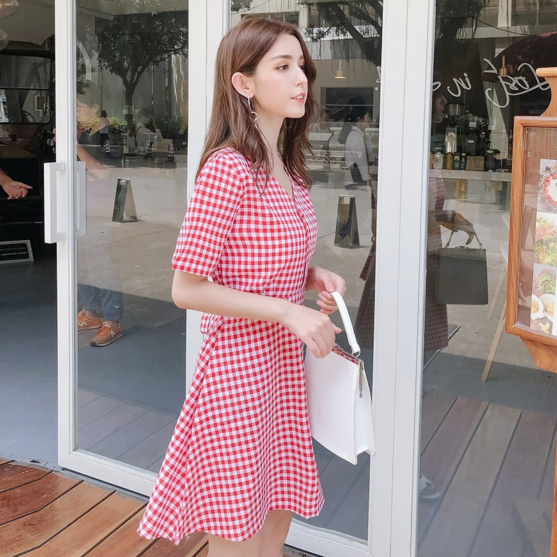 New Style Spring And Summer Marriage New Style V-neck Summer Fashion Quality Elegant Korean-style Dress Lace-up Slim Fit Slimmin