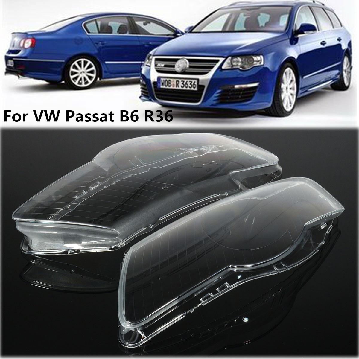 Çift araba far far su geçirmez parlak şeffaf kapak Lens için Volkswagen VW Passat B6 bi-xenon farlar R36