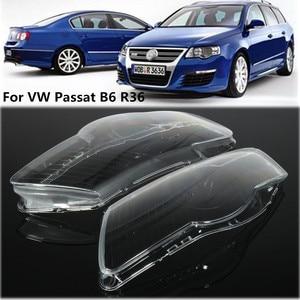 Image 1 - Pair Car Headlight Headlamp Waterproof Bright Clear Cover Lens For Volkswagen VW Passat B6 bi Xenon headlights R36