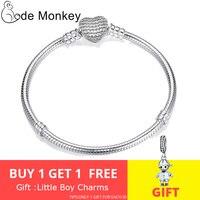 CodeMonkey Hot Sale 100% 925 Sterling Silver Heart Bracelet Fit Original Pandora Beads Charms DIY Jewelry Gift For Women CMC906