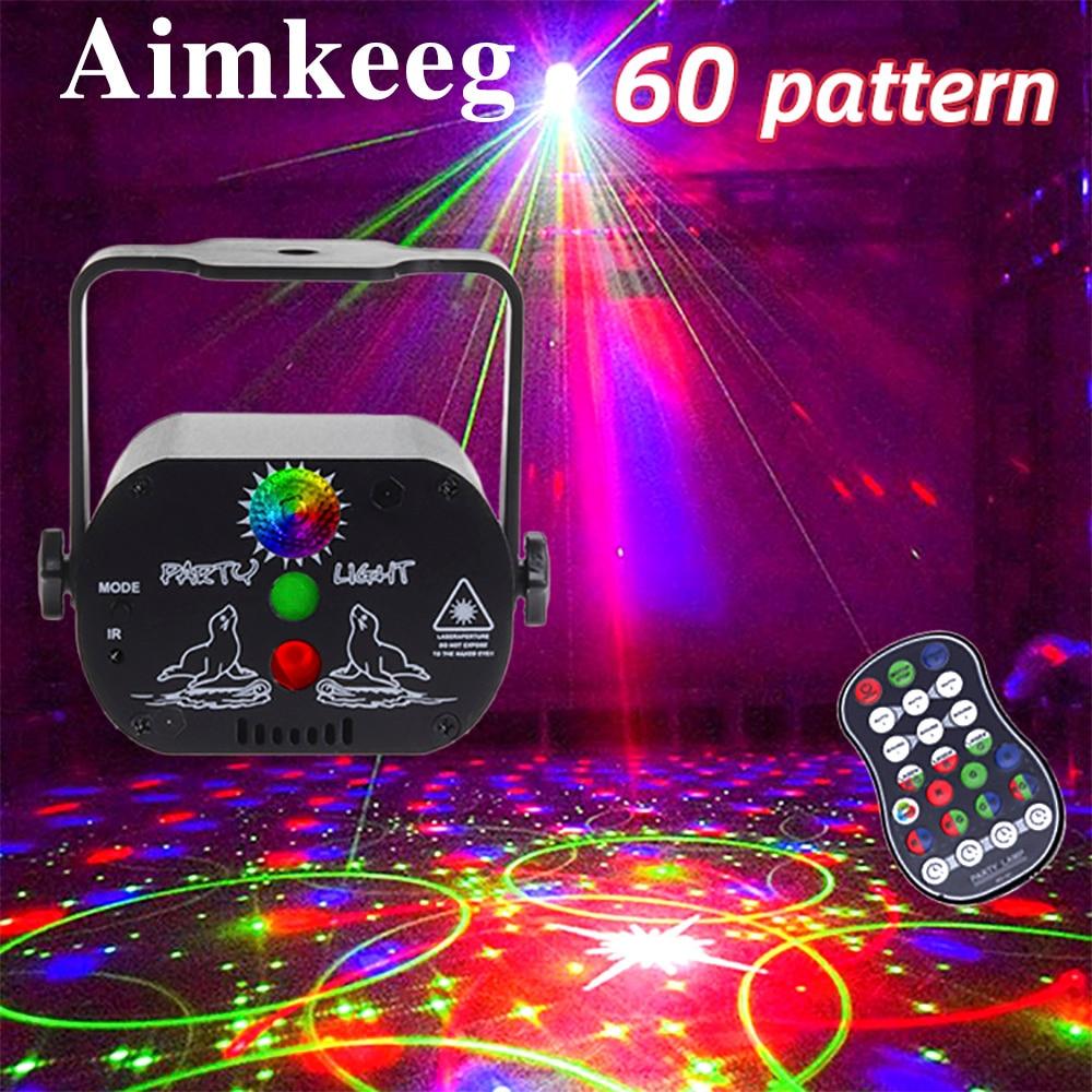 60 видов световых эффектов USB перезаряжаемые сценические фонари DJ диско-огни мини-стробоскопы для вечеринок сценические огни голосовой лазе...