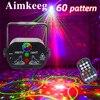 Wiederaufladbare Mini USB Bühnenlichter im 60 Modus RGB LED Strobe Party Lichteffekte DJ Disco Lichter Sprachsteuerung Laserprojektor Tanzflächenlichter