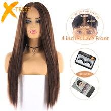 Средний коричневый цвет синтетические волосы парики для женщин X-TRESS Длинные Яки прямой парик фронта шнурка с натуральной линией волос средняя часть