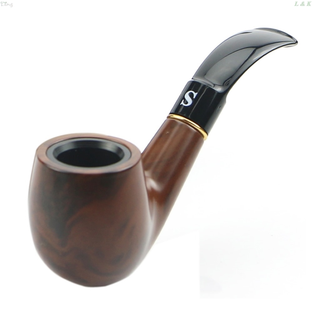 New Traditional Style Ebony Wood Nature Handmade Tobacco Smoking Pipe Bent Round