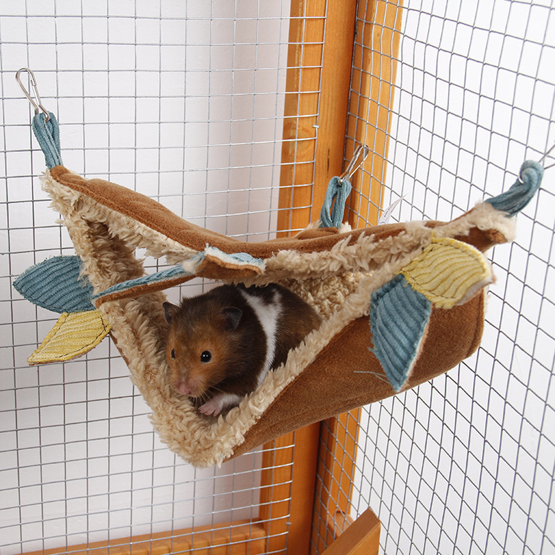 Small Pet Cage Hamster Hammock Mini Animal House Triangle Hanging Fleece Bed Swing Cage Accessories for Sugar Glider Guinea Pig