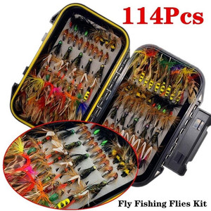 50/114Pcs/Set Fly Fishing Lure Box Set Wet Dry Nymph Fly Tying Material Bait Fake Flies for Trout Fishing Tackle