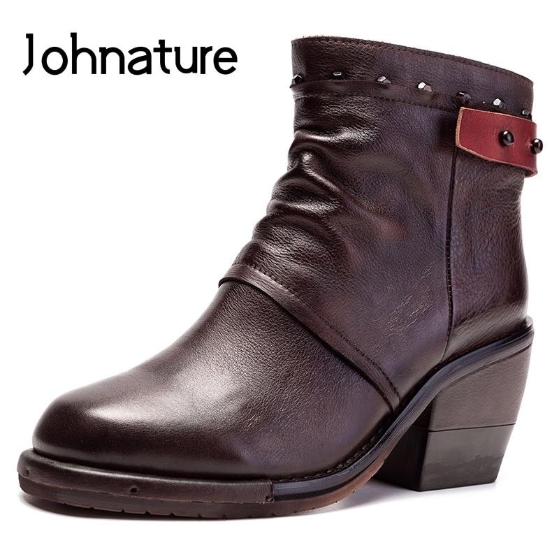 Johnature/женские зимние ботинки из натуральной кожи; Новинка 2020 года; Женская обувь на молнии с круглым носком и заклепками; Однотонные Прошитые ботильоны|Полусапожки|   | АлиЭкспресс