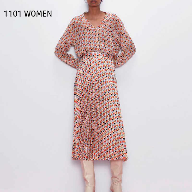ZA 새로운 봄 여성 2 조각 세트 핑크 격자 무늬 긴 소매 셔츠 블라우스 맥시 복장 여성 캐주얼 여성 의류
