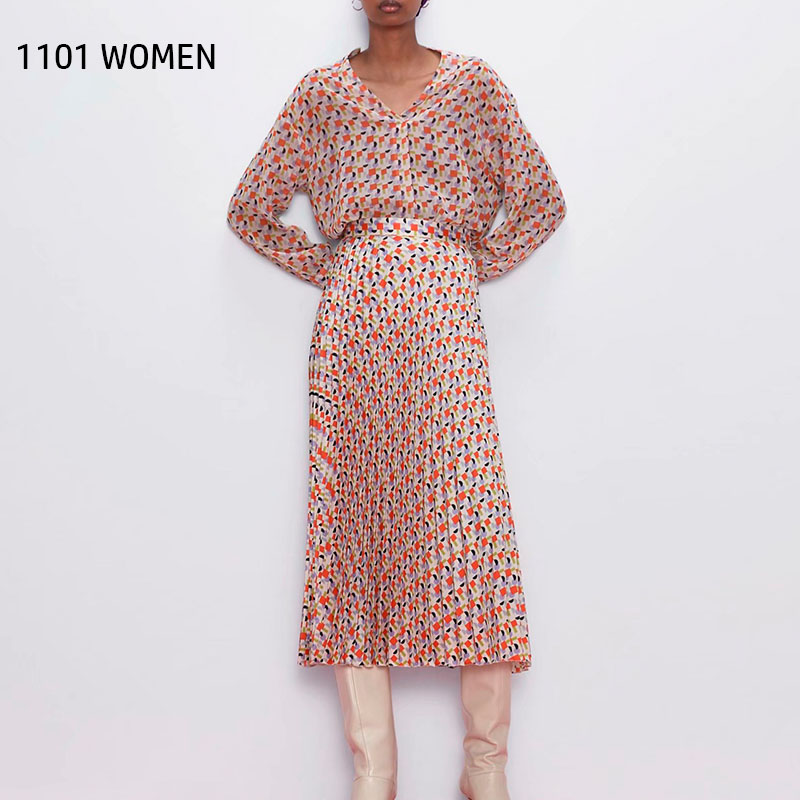 ZA NEW Spring Women 2 Pieces Set Pink Plaid Long Sleeve Shirt Blouse Maxi Dress Suit Female Casual Woman Clothes