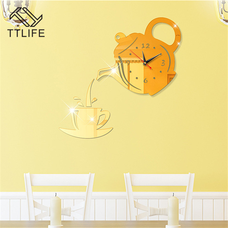 TTLIFE Multicolor Plastic Teapot Wall Clock 3D Sticker Acrylic Removable Decor Decals Home Mirror Stickers Mural 2019
