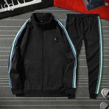 White Black Men Set Fashion 2021 Autumn Spring Brand Casual Sportswear Mens Tracksuit Sports Two Piece Striped Hoodie Pant Male 2