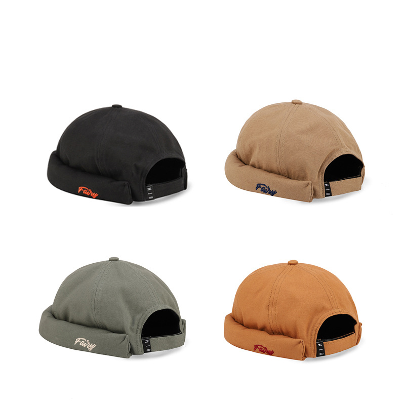 Men's Women's Hip Hop Caps Without Brim Embroidery Letter Street Dancer Beanies Cotton Adjustable