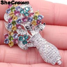 47x29mm Multi Color Flowers Tourmaline Citrine Peridot Aquamarine Violet Tanzanite CZ Silver Brooch