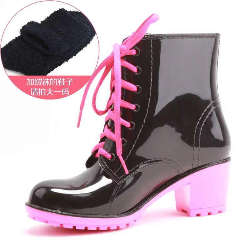Frauen Ankle Regen Stiefel Herbst Oxford Plain Schuhe Frau Kleid Zipper Schuh Formale OL High Heels Dame Schwarz Schuhe 369