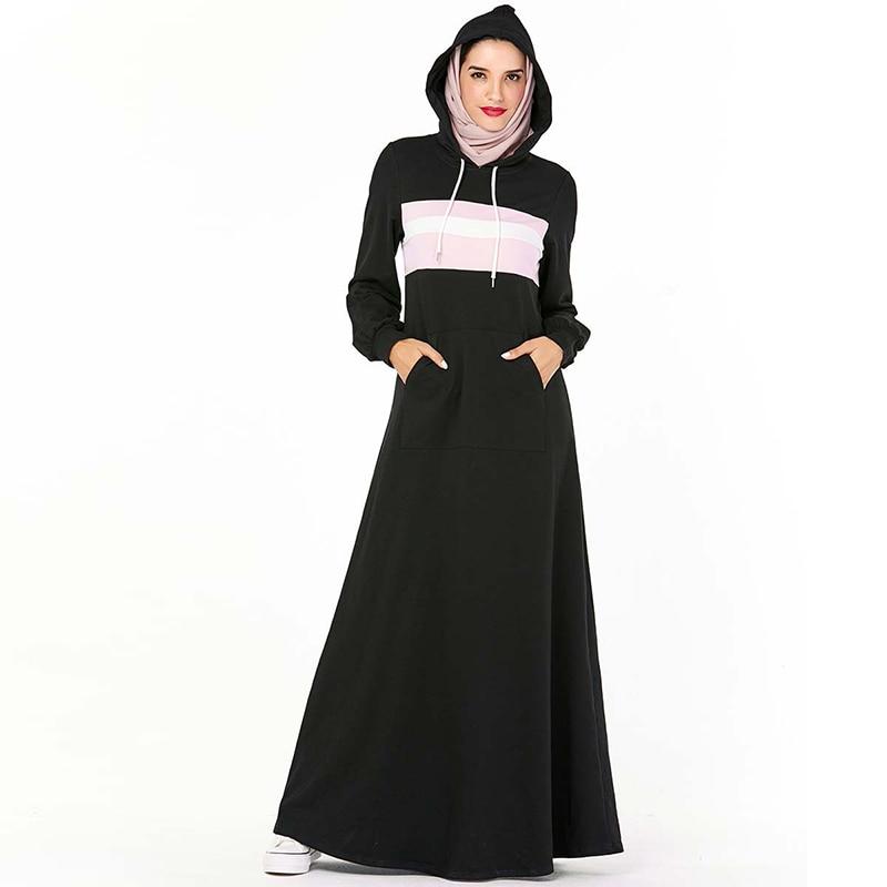 Black Hoodie Abaya Kaftan Dubai Hijab Muslim Dress Women Islam Clothing Abayas Caftan Turkish Dresses Robe Turque Omani Kleding