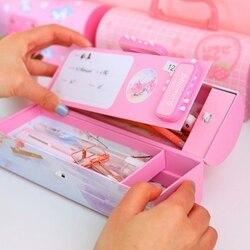 크리 에이 티브 연필 상자 다기능 코드 잠금 대용량 연필 경우 소년 소녀 학교 편지지 휴대용